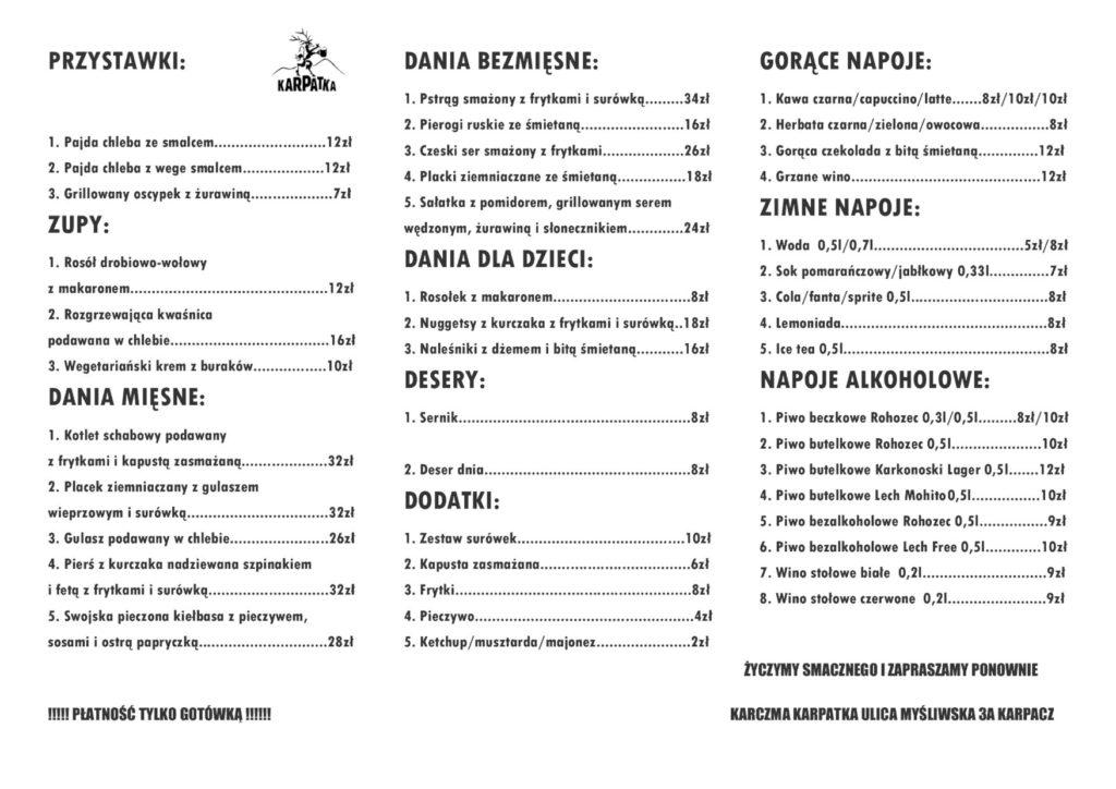 menu restauracja karczma karpatka